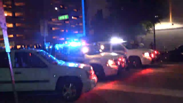Police slowly roll up Second Street in Phoenix