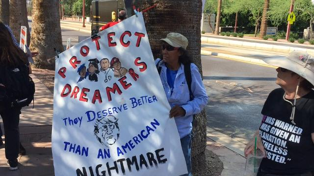 Protesters gather outside ICE headquaters after DACA announcement