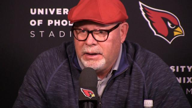 Arizona Cardinals coach Bruce Arians discusses David Johnson's wrist injury. By Rob Schumacher/azcentral sports