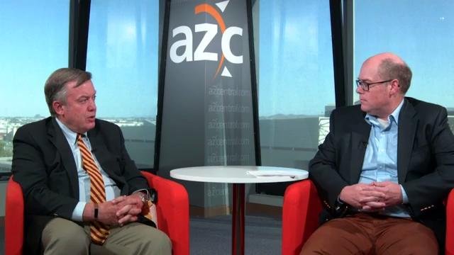 ASU President Michael Crow and Republic politics editor Michael Squires discuss the AG's lawsuit against the state Board of Regents, DACA recipients and ASU's ranking as the most innovative university in the country. Thomas Hawthorne/azcentral.com