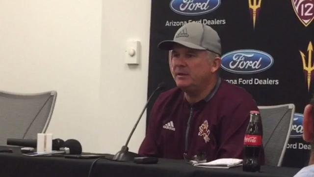 ASU head football coach Todd Graham discusses the start of Pac-12 play against Oregon this weekend and the improvement of QB Manny Wilkins after practice on Tuesday.  Jeff Metcalfe/azcentral sports