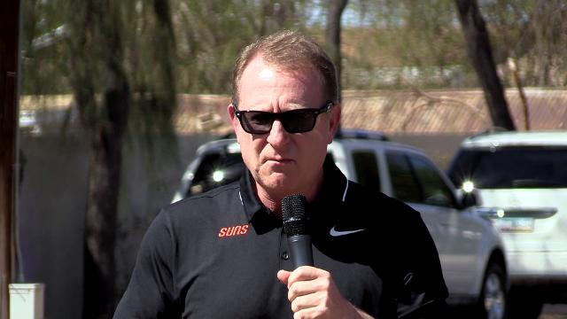 Phoenix Suns owner Robert Sarver announces that Phoenix Suns Charities is donating $1 million to renovate 50 neighborhood basketball courts in Arizona in honor of the 50th anniversary of the NBA franchise.. || Tom Tingle/azcentral sports