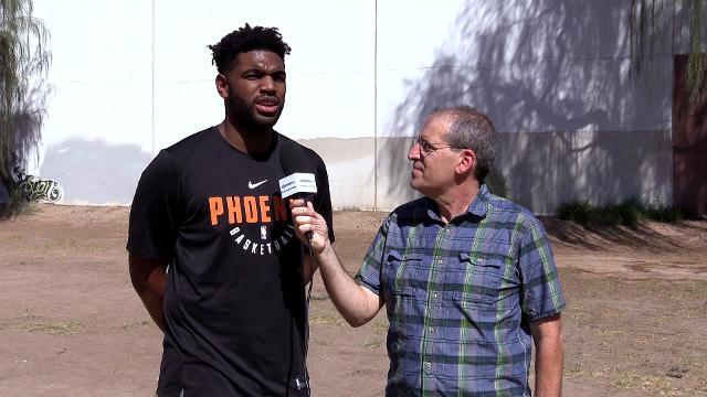 Scott Bordow of azcentral sports interviews Phoenix Suns center Alan Williams, Wednesday, September 20, 2017. || Tom Tingle/azcentral sports