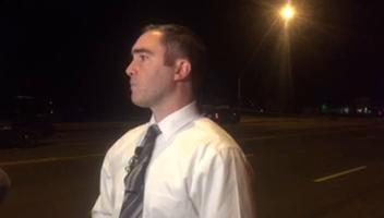 Detective Nik Rasheta of Mesa police tells reporters about Mesa police shooting a man who had been waving a gun on Sept. 22, 2017 near Southern Avenue and Crismon Road. Gabriella Del Rio/azcentral.com