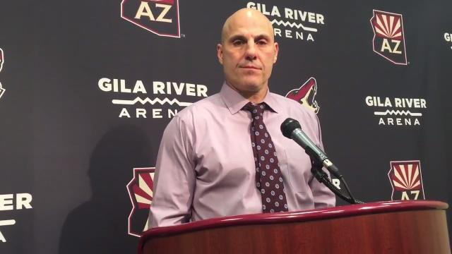 Coach Rick Tocchet, center Derek Stepan and forward Nick Cousins discuss Coyotes defenseman Oliver Ekman-Larsson's lower-body injury after a preseason loss to the Sharks on Saturday.