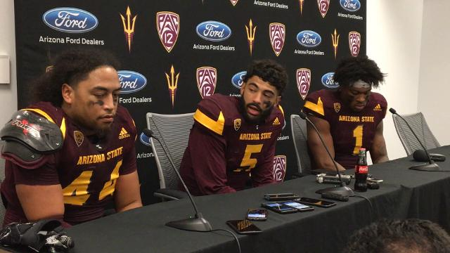 ASU's Manny Wilkins, N'Keal Harry and Alani Latu discuss the Sun Devils' win over Oregon on Saturday in Tempe.