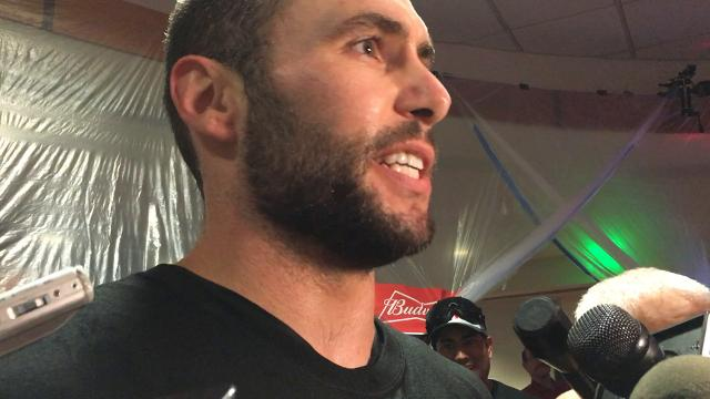 Slugger Paul Goldschmidt in the celebratory clubhouse after the Diamondbacks clinched a wild card spot.