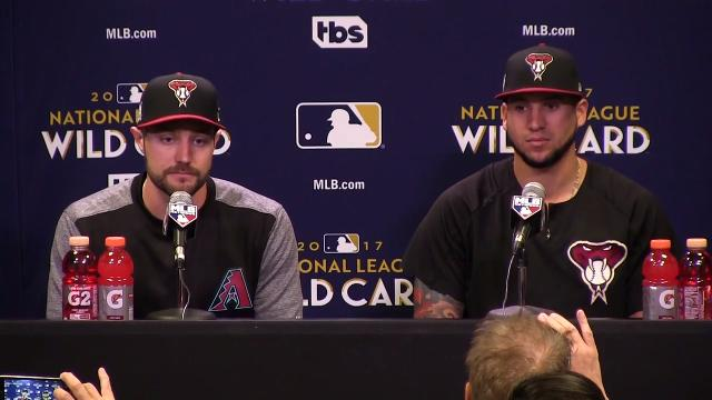 Diamondbacks outfielder A.J. Pollock discusses facing Rockies starter Jon Gray, whom they will face in the NL wild-card game, during a press conference at Chase Field on Monday.  Rob Schumacher/azcentral sports