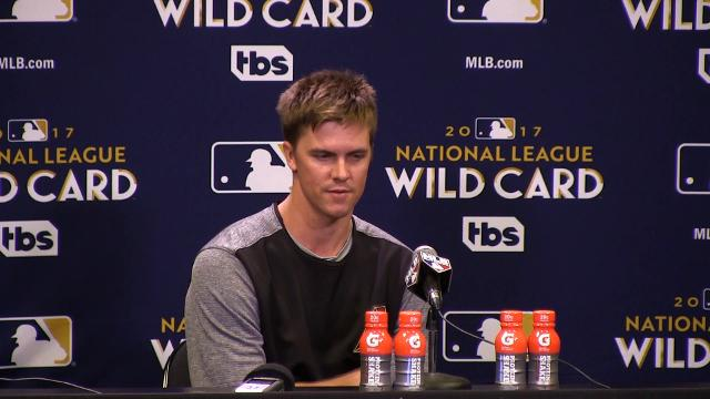Diamondbacks pitcher Zack Greinke talks about the National League wild-card game on Wednesday at Chase Field.