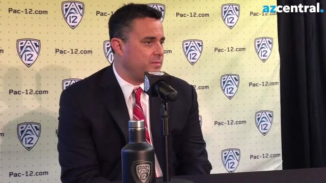 Arizona Wildcats basketball coach Sean Miller speaks at Pac-12 media day in San Francisco on Thursday.   Doug Haller/azcentral sports
