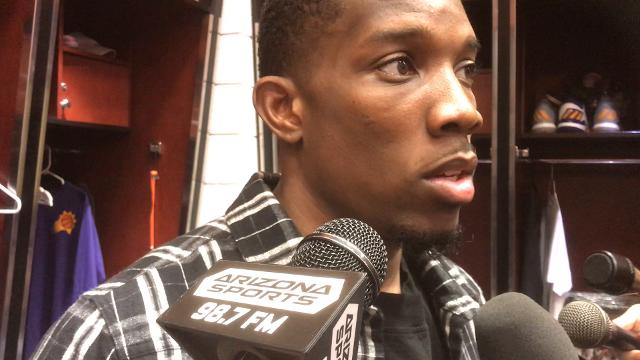 Suns guard Eric Bledsoe reacts to a blowout loss to the Portland Trail Blazers in the season opener.