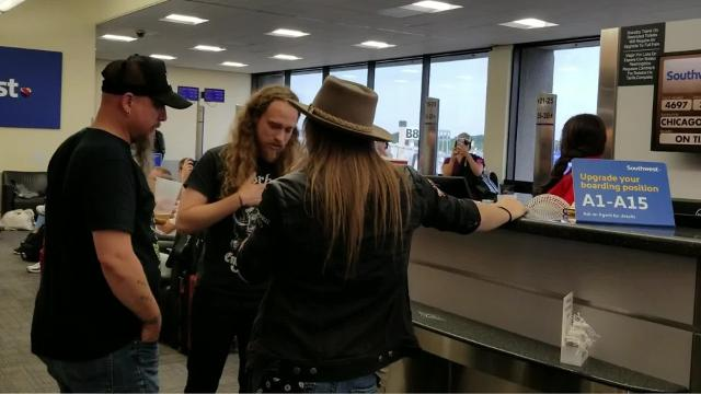 Christopher Shayne Band, from Arizona, spontaneously sings a cappella in New Orleans at the Louis Armstrong Airport at the Southwest Airlines Counter. The local rockers had just wrapped a weekend in New Orleans, playing the St. Charles Rockin River Music Fest 2017.
