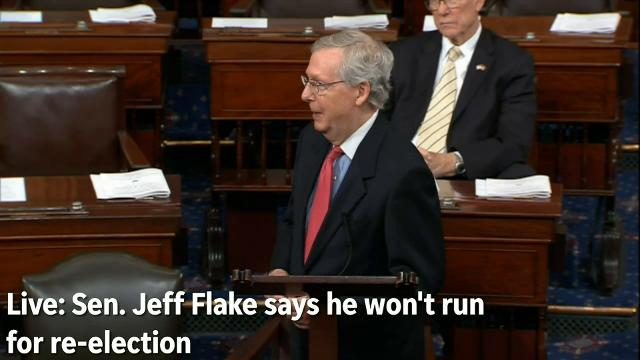 Senate Majority Leader Mitch McConnell praised Sen. Jeff Flake for his service immediately after Flake announced from the floor that he would not seek re-election. C-SPAN