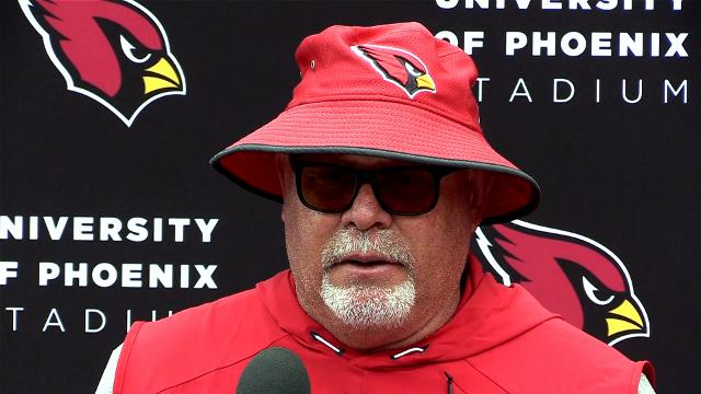 Arizona Cardinals coach Bruce Arians gives an update after practice on Tuesday, October 31, 2017. Tom Tingle/azcentral sports