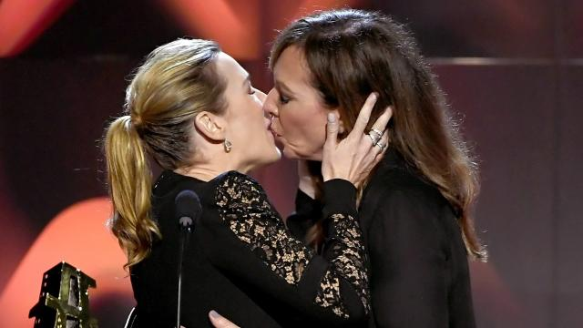 Actresses kissing each other