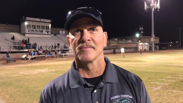 Phoenix Christian head coach Brian Cole after his team dominated Tempe Prep, 59-15, to move onto the semifinals. Weston DeWitt/Special to azcentral sports