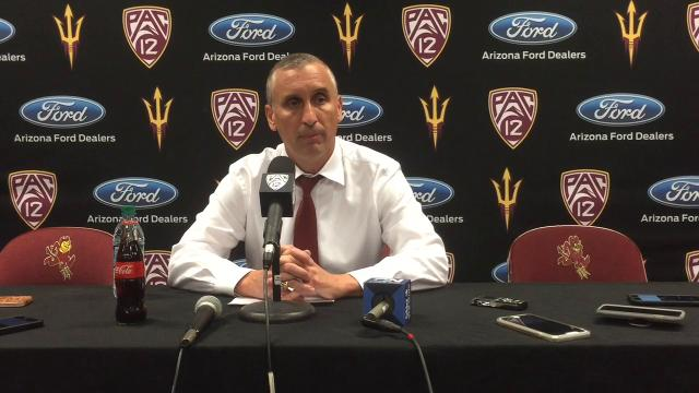 ASU coach Bobby Hurley and guard Shannon Evans discuss on thei 94-74 win over Idaho State