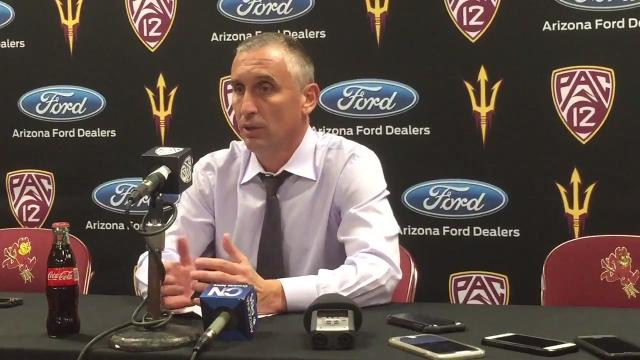 ASU coach Bobby Hurley reacts to Tuesday's win over San Diego State.
