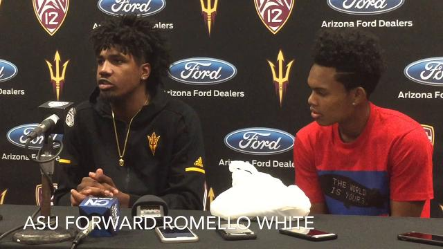 Tra Holder and Romello White react to a 90-68 win over San Diego State for a 2-0 start.
