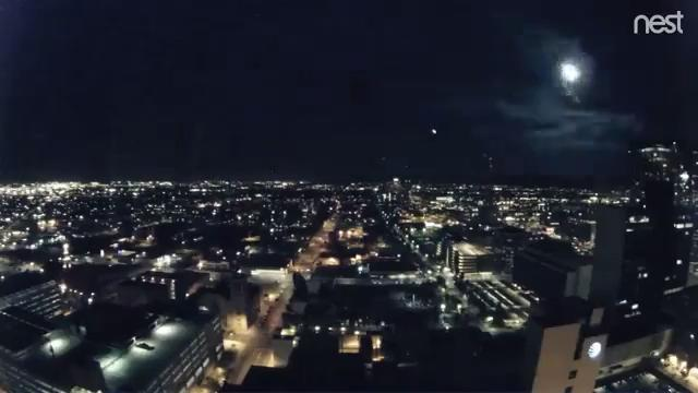 Video from Phoenix City Hall shows a bright light flashing across the Phoenix skyline. Video credit: City of Phoenix