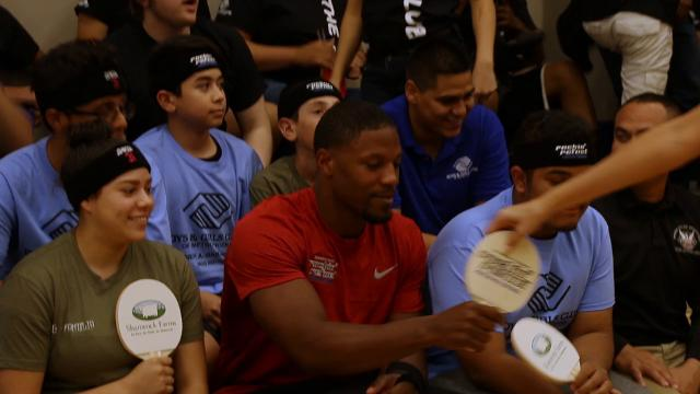 Arizona Cardinals running back David Johnson played in a ping pong tournament at the Phoenix Boys and Girls Club and talked about how he's recovering from his wrist injury. Carly Henry/azcentral.com