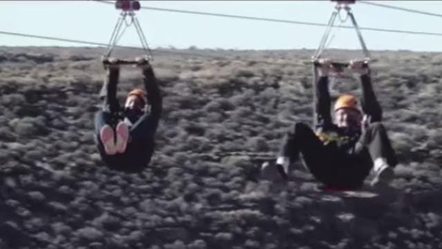 Two sets of ziplines send riders soaring nearly 1,000 feet above the canyon floor.