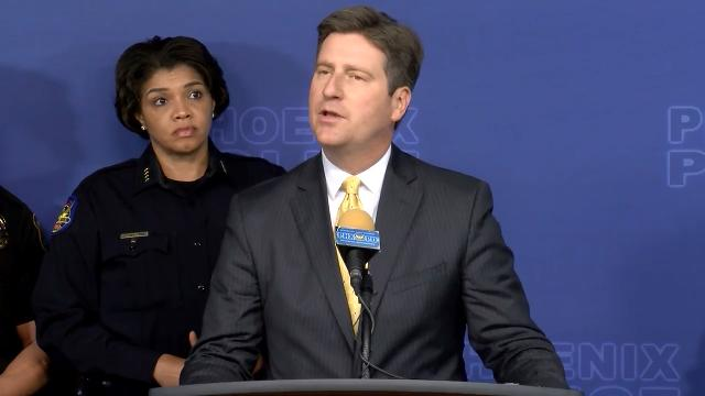 Phoenix Mayor Greg Stanton and Police Chief Jeri Williams talk about how law enforcement tied double-murder suspect Cleophus Cooksey Jr. to seven other homicides, during a news conference Jan. 18, 2018. Sean Logan/azcentral.com