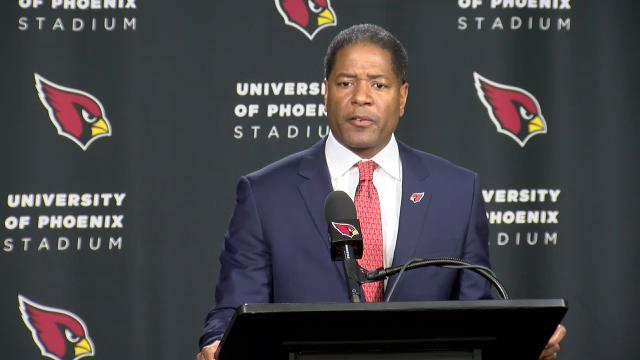 Arizona Cardinals coach Steve Wilks shares his pillars for success with the Cardinals as he is introduced on Tuesday.