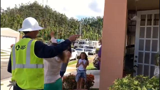APS posted a video on Facebook of children screaming in delight as the electricity is restored to their home. The utility sent workers to assist in rebuilding Puerto Rico's power grid following hurricanes that left millions without power.