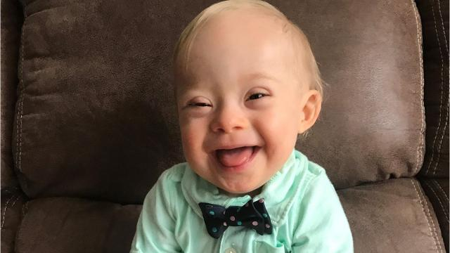 Lucas Warren is a 1-year-old from Georgia who is the first Gerber spokesbaby to have Down syndrome. He wins $50,000. Images provided from Gerber by mother Cortney Warren.