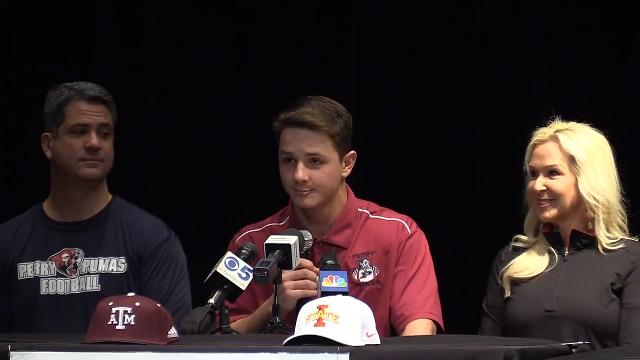 Perry quarterback Brock Purdy announced that he will attend Iowa State University to play football during a signing ceremony on Wednesday.     Tom Tingle/azcentral.com