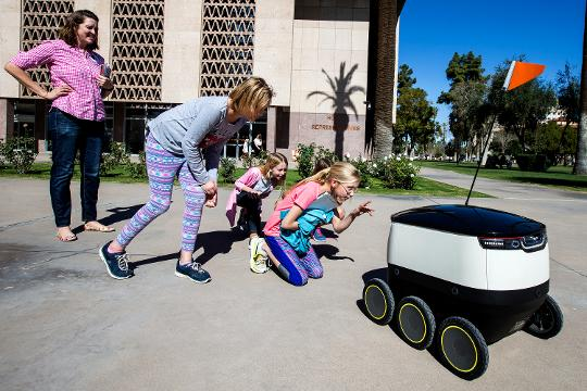 Starship Technologies spokesman David Catania discusses how delivery robots could operate in Arizona if the state Legislature passes House Bill 2422. Sean Logan/azcentral.com
