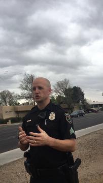 Glendale police Sgt. Scott Waite gives information on a teenager who was shot in Glendale on Feb. 12, 2018. Austin Grad/azcentral.com