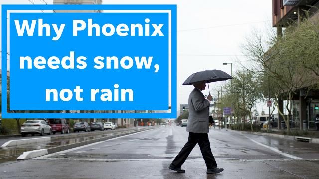 The recent rain in Phoenix was nice, columnist Joanna Allhands says. But when it comes to drinking water, what we really need is snow in places far, far away.