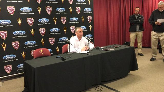 Sun Devils head coach Bobby Hurley reacts after his team's 77-70 loss at home to the Arizona Wildcats.