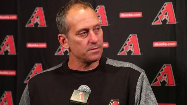 Arizona Diamondbacks manager Torey Lovullo reacts to the new rule limiting mound visits to six per nine innings from coaches or players.