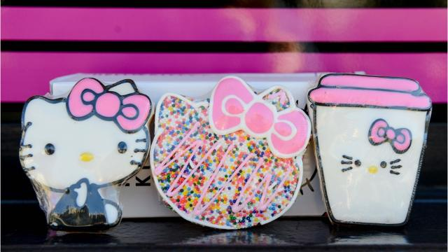 Hello Kitty fans can buy goodies and souvenirs when the pink truck stops in Gilbert, Arizona.
