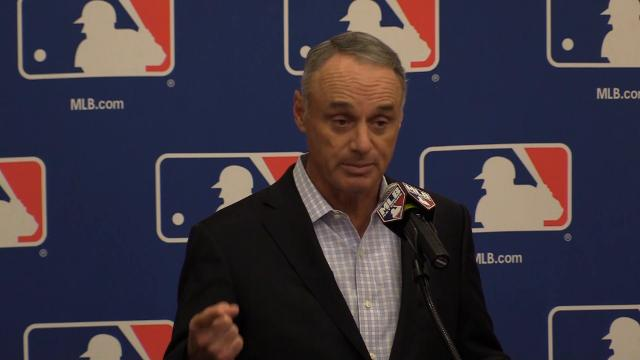 MLB Commissioner Rob Manfred discusses the change in number of mound visits a team can have during a game. Carly Henry/azcentral sports