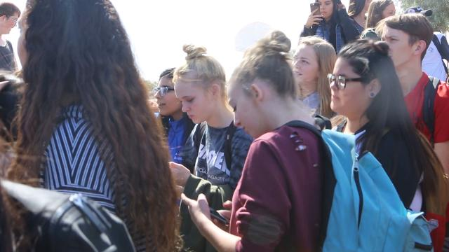 Students from Mesa High walked out of school in solidarity with the Parkland school shooting victims on Feb. 21, 2018. Johanna Huckeba/azcentral