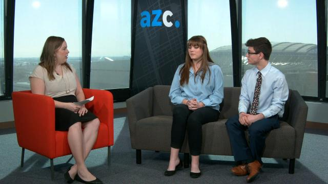 Reporter Kaila White talks with two Phoenix-area high school students who are helping to organize a March for our Lives event on March 24, 2018, in Phoenix.