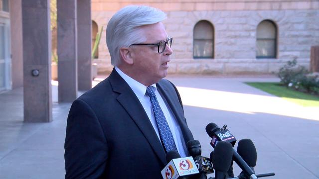 Attorney Tom Ryan speaks during a press conference regarding Steve Montenegro's texting relationship with a state Senate staff member on Feb. 22, 2018, at the State Capitol in Phoenix.