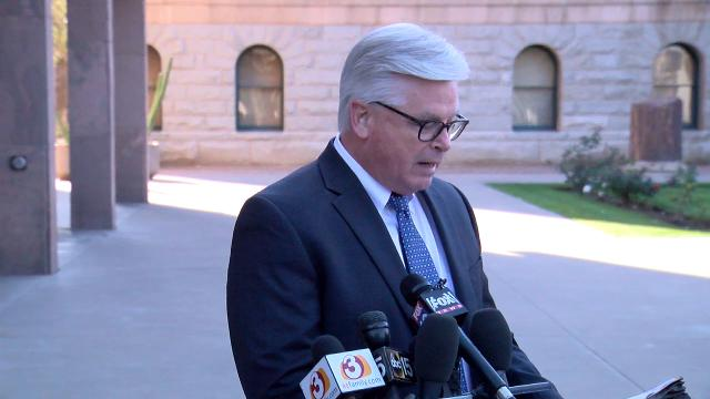 Attorney Tom Ryan reads his client's statement during a press conference regarding Steve Montenegro's texting relationship with a state Senate staff member on Feb. 22, 2018, at the State Capitol in Phoenix.