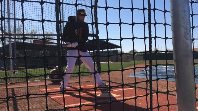 D-Backs' Steven Souza takes batting practice