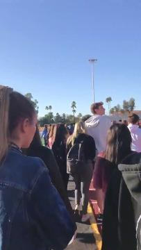 Chaparral High School students walked out of class on Feb. 23, 2018, at the risk of an unexcused absence on the third day of demonstrations across the U.S. in response to the massacre at a Florida high school. Natalie Karl/Special for azcentral.com