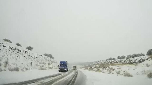Snow was falling in northern Arizona on Feb. 23, 2018. Here is some ADOT video from  Route 66 and Interstate 40.