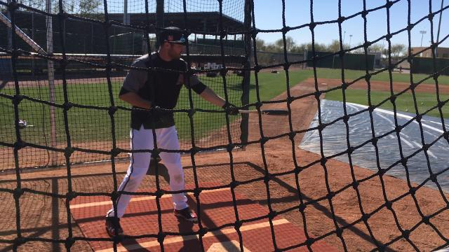 A.J. Pollock takes batting practice at Salt River Fields