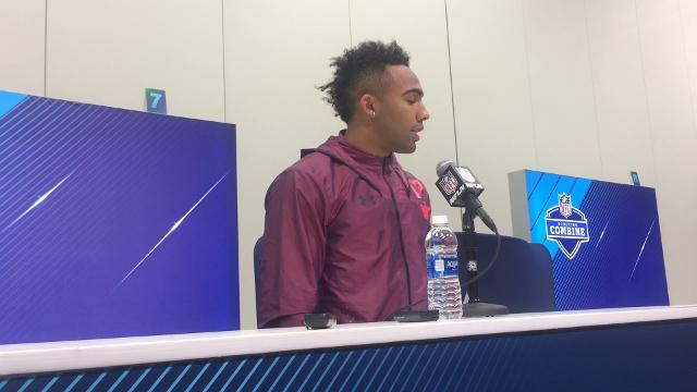 Texas A&M WR/RB Christian Kirk speaks at the NFL combine on Friday.