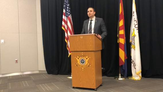 Maricopa County Sheriff Paul Penzone speaks about the arrest of a suspect in a 2017 boating crash on Bartlett Lake in Tonto National Forest on March 14, 2018. Samie Gebers/azcentral.com