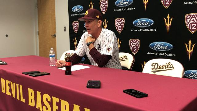 ASU baseball coach Tracy Smith discusses his team's win on Friday night.