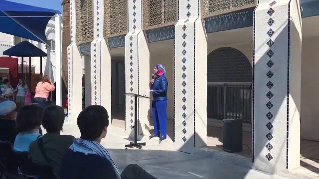 Deedra Abboud, a U.S. Senate candidate, speaks at Islamic Community Center of Tempe on March 17, 2018, in support of the Tempe mosque that was ransacked by two women.